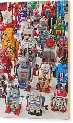 Toy Robots Wood Print by Garry Gay