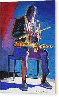 Trane - John Coltrane Wood Print by David Lloyd Glover