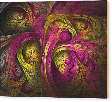Tree Of Life In Pink And Yellow Wood Print by Tammy Wetzel