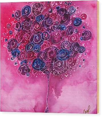 Tree Of Life Pink Swirl Wood Print by Christy  Freeman
