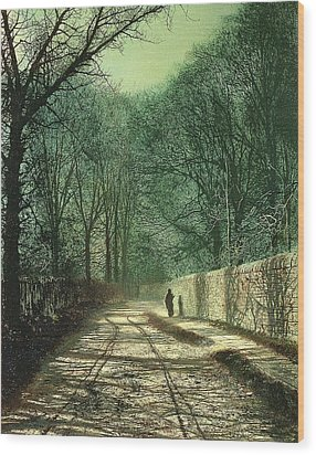 Tree Shadows In The Park Wall Wood Print by John Atkinson Grimshaw