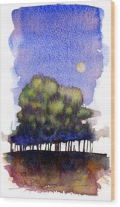 Trees At Moon Rise Wood Print by John D Benson