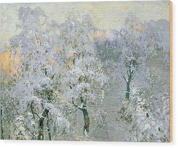 Trees In Wintry Silver Wood Print by Konstantin Ivanovich Gorbatov