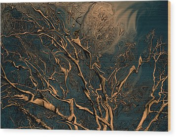 Trippy Tree Wood Print by Linda Sannuti