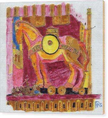 Trojan Horse Wood Print by Phil Strang