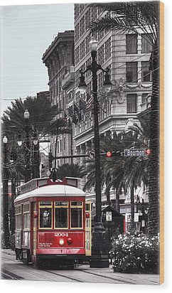 Trolley On Bourbon And Canal  Wood Print by Tammy Wetzel