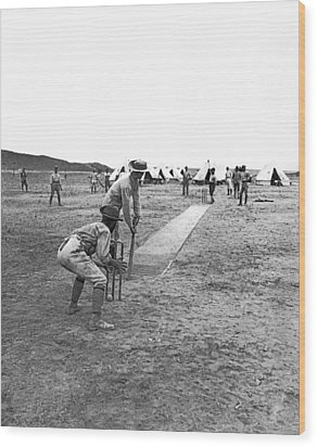 Troops Playing Cricket Wood Print by Underwood Archives