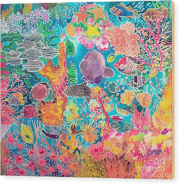 Tropical Coral Wood Print by Hilary Simon