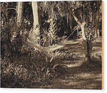 Tropical Hammock Wood Print by Susanne Van Hulst