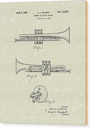 Trumpet 1940 Patent Art Wood Print by Prior Art Design