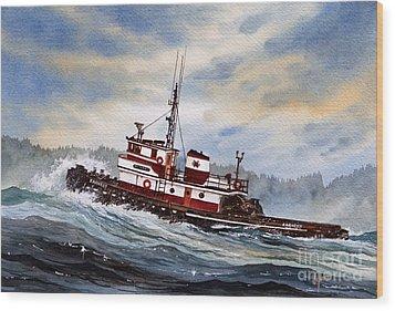 Tugboat Earnest Wood Print by James Williamson