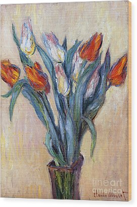 Tulips Wood Print by Claude Monet
