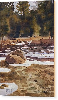 Tuolumne River Freeze Wood Print by Donald Maier