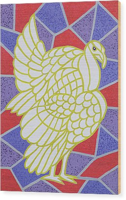 Turkey On Stained Glass Wood Print by Pat Scott