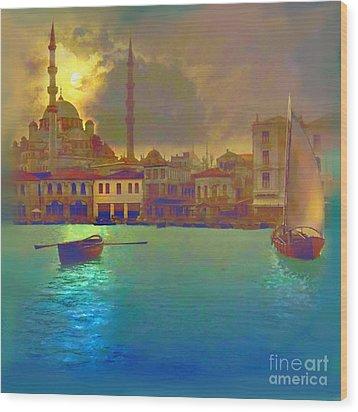 Turkish  Moonlight Wood Print by Saiyyidah Seema  Z