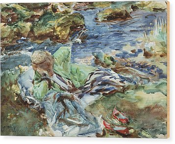 Turkish Woman By A Stream Wood Print by John Singer Sargent