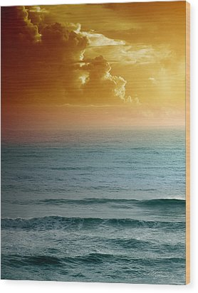 Turquoise Amber Sunrise Wood Print by Maria Eames