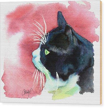 Tuxedo Cat Profile Wood Print by Christy  Freeman
