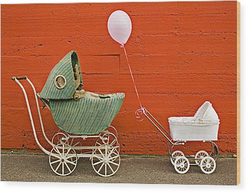 Two Baby Buggies  Wood Print by Garry Gay