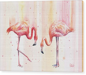 Two Flamingos Watercolor Wood Print by Olga Shvartsur