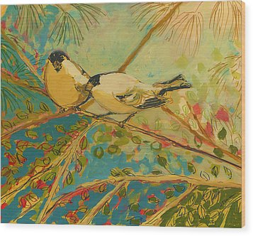 Two Goldfinch Found Wood Print by Jennifer Lommers