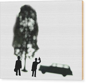 Two Men Visit Tree Wood Print by Mark Wagoner