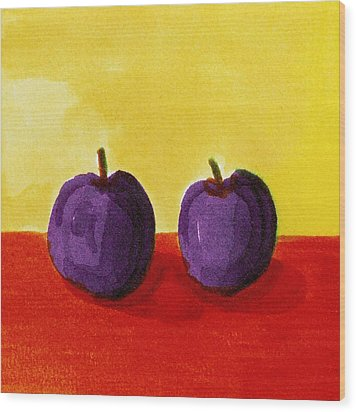 Two Plums Wood Print by Michelle Calkins