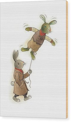 Two Rabbits 02 Wood Print by Kestutis Kasparavicius
