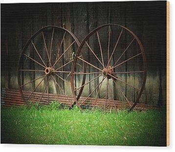 Two Wagon Wheels Wood Print by Michael L Kimble