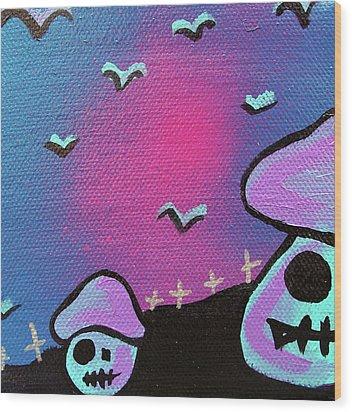 Two Zombie Mushrooms Wood Print by Jera Sky