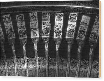 Typewriter Keys Wood Print by Tom Mc Nemar