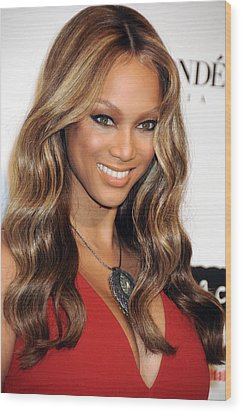 Tyra Banks At Arrivals For Keep A Child Wood Print by Everett