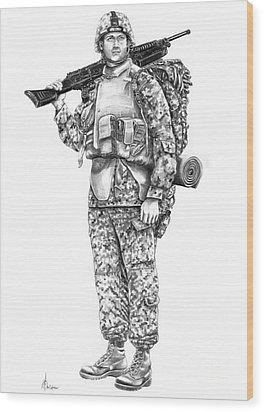 U S Marine Wood Print by Murphy Elliott