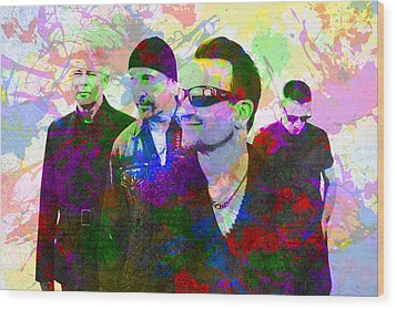 U2 Band Portrait Paint Splatters Pop Art Wood Print by Design Turnpike