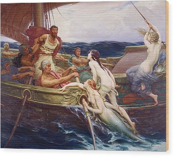 Ulysses And The Sirens Wood Print by Herbert James Draper