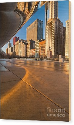 Under The Bean And Chicago Skyline At Sunrise Wood Print by Sven Brogren