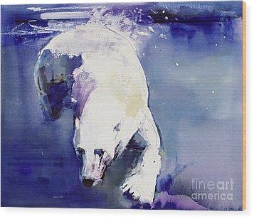 Underwater Bear Wood Print by Mark Adlington