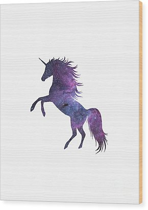 Unicorn In Space-transparent Background Wood Print by Jacob Kuch