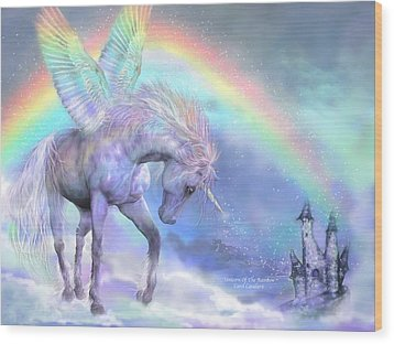 Unicorn Of The Rainbow Wood Print by Carol Cavalaris