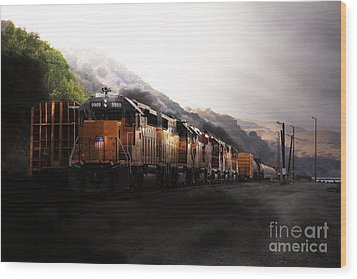 Union Pacific Locomotive At Sunrise . 7d10561 Wood Print by Wingsdomain Art and Photography
