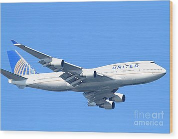 United Airlines Boeing 747 . 7d7852 Wood Print by Wingsdomain Art and Photography