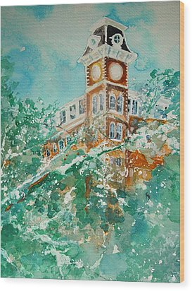 Ice On Old Main Wood Print by Robin Miller-Bookhout