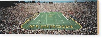 University Of Michigan Stadium, Ann Wood Print by Panoramic Images