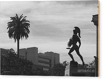 University Of Southern California Tommy Trojan Wood Print by University Icons