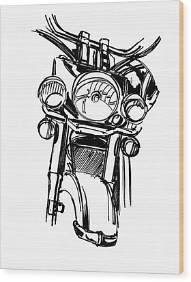 Urban Drawing Motorcycle Wood Print by Chad Glass