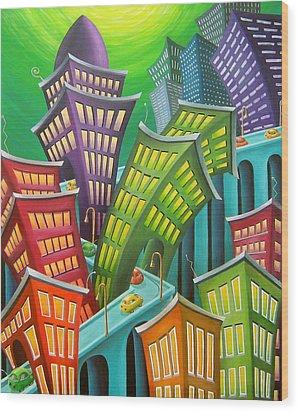 Urban Vertigo Wood Print by Eva Folks