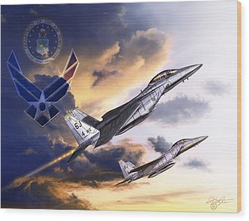 Us Air Force Wood Print by Kurt Miller
