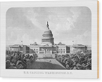 Us Capitol Building - Washington Dc Wood Print by War Is Hell Store