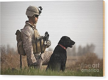 U.s. Marine Holds Security In A Field Wood Print by Stocktrek Images
