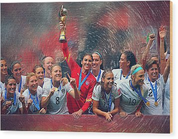 Us Women's Soccer Wood Print by Semih Yurdabak
